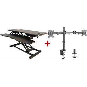 Sit-Stand Desktop Plus Half Price Twin Monitor Arm