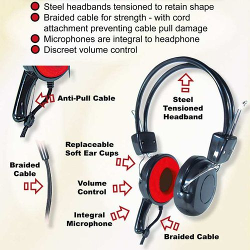 Robust Heavy Duty virtually unbreakable headphones with microphone