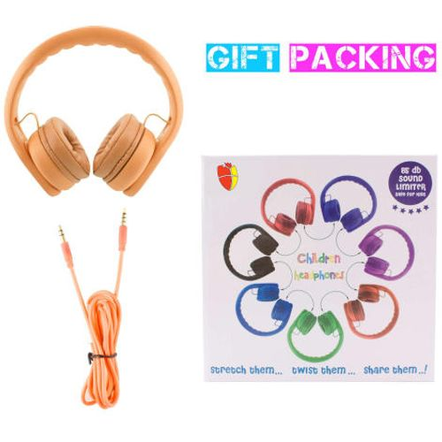 Almost Unbreakable, Robust, Bendable Headphones; limited to 85Db; Orange