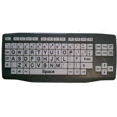 Easy Read Large Key Black on White Keyboard for the visually impaired