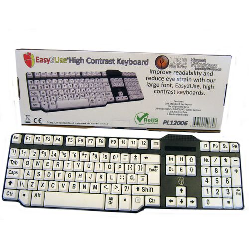 Easy2Use USB Keyboard with Braided Cable - Large Black Font on White Keys