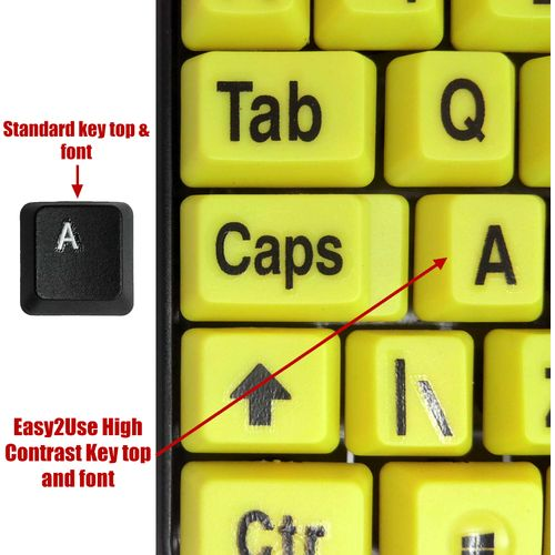 Easy2Read Black on Yellow Keys easy Use Standard keyboard