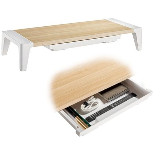 White Birch Monitor Riser - Increased Height & Drawer