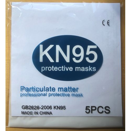 Professional KN95 Protective Face Mask Packed in 5`s