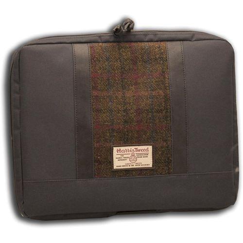 Harris Tweed Laptop Bag: Green/Brown Check Tartan