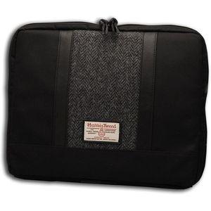 Harris Tweed Laptop Bag: Grey/Black Herringbone