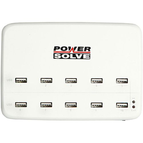 White rectangle box with ports for 10 chargers