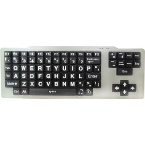 Visually Impaired Keyboard (White/Black Upper Case)