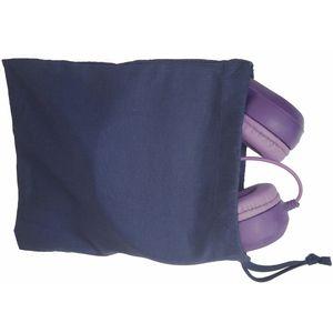 Navy Cotton Drawstring Bag for Headphones