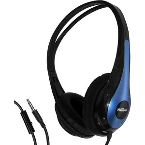 Lightweight Headphones Black/Blue with Mic for Tablets