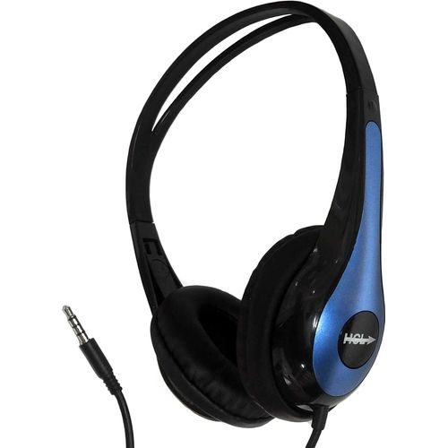 Lightweight Computer Audio Headphone Black/Blue with 3.5mm Stereo Plug