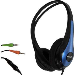 Lightweight Headphone Black/Blue with Mic & 2 x 3.5mm