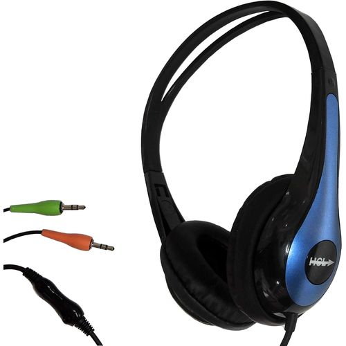 Lightweight Cheap Headphone Black/Blue with Microphone & 2 x 3.5mm jacks