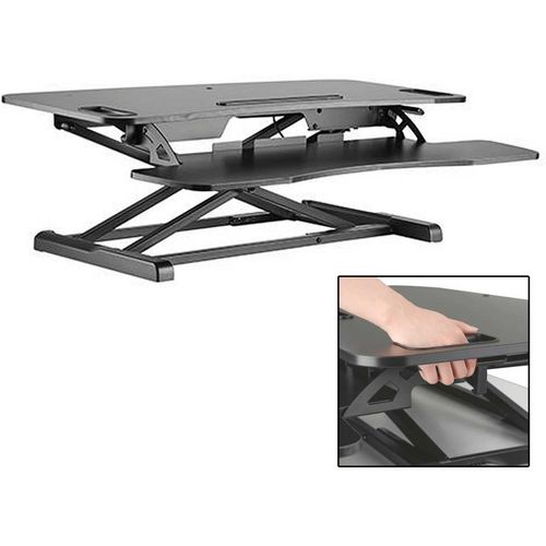 Black Height Adjustable Sit Stand Desktop Workstation