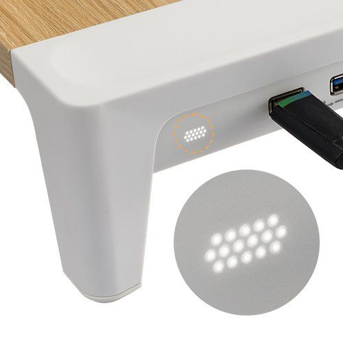 White Birch Monitor Riser - with 3 inbuilt USB ports
