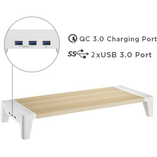White Birch Monitor Riser - with 2  USB and 1 charging ports