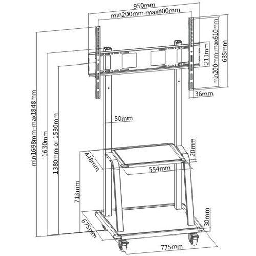 Ultra-Heavy Duty Steel Mobile Screen Stand