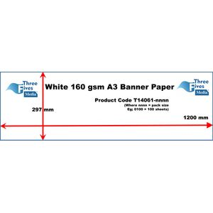 50 Lengths of White Banner Paper 160gsm A3 297 x 1200mm