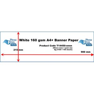 50shts 160gsm White Banner Paper A4 215 x 900mm