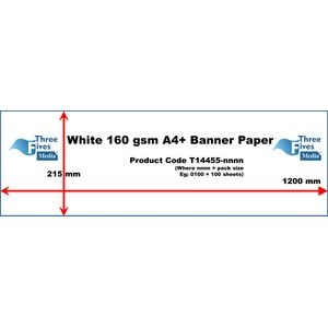 White Banner Paper 160gsm A4 215 x 1200mm