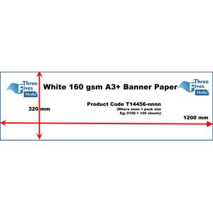 White Banner Paper 160gsm A3 320 x 1200mm - 100sheets