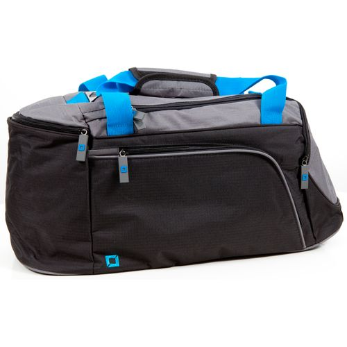 Sports holdall. Black sides, grey top and bright blue handles.