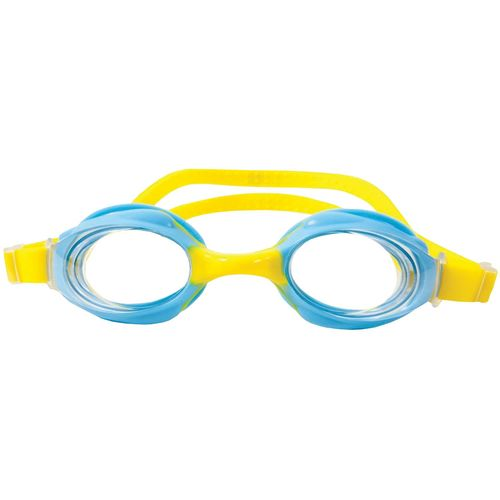 Childrens swimming goggles. Yellow strap with pale Blue eye rim.