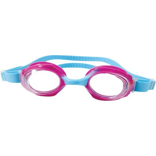 Childrens swimming goggles. Pale Blue strap with pink eye rim.