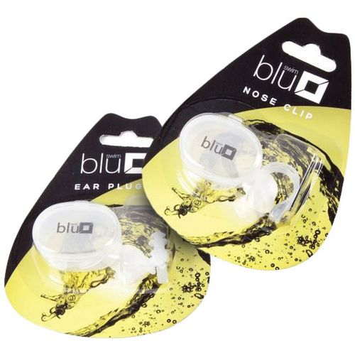 Swimming Ear Plugs.  White plastic with clear storage case.