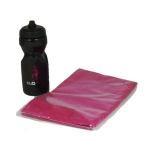 Gym Towel Pink with Black/Pink sports bottle