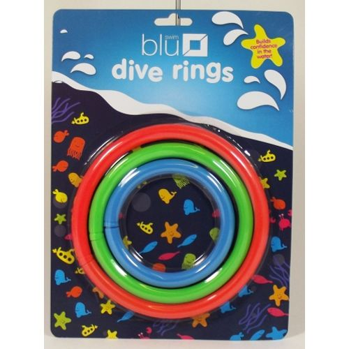 Pack of 3 Blue x 2 Green x 1 rings for sinking in water.