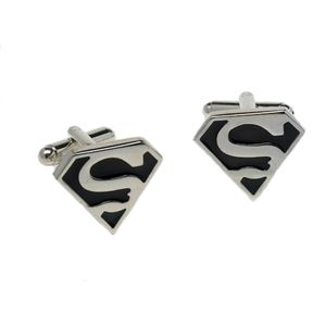 Superman Logo Cufflinks - Silver & Black