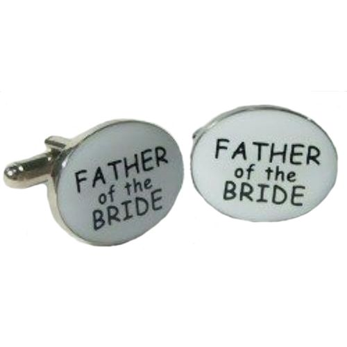Father of the Bride Cufflinks black text on white background