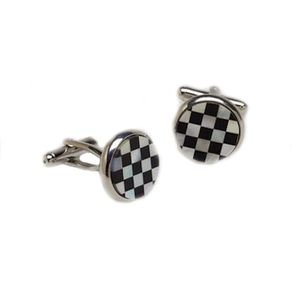 Mother of Pearl & Onyx Chequered Round Cufflinks