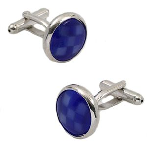 Blue Check Cats Eye Dress Cufflinks