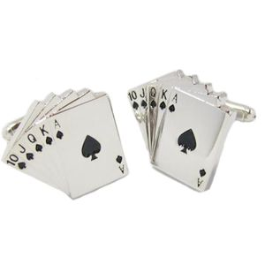 Playing Card Suit Cufflinks - Poker Royal Flush