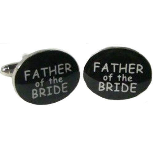 Father of the Bride white lettering on black background Cufflinks