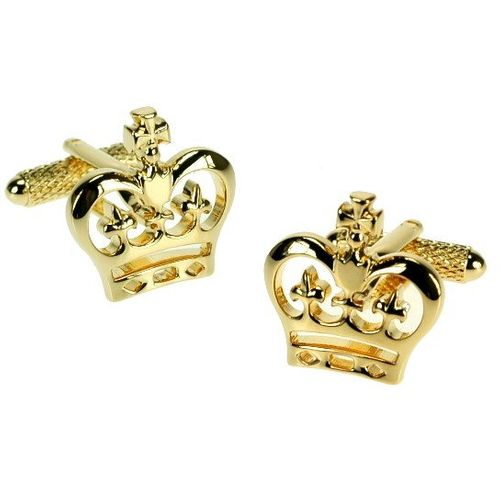 Golden Crown Cufflinks Ladies or Mens Cufflinks with gift box