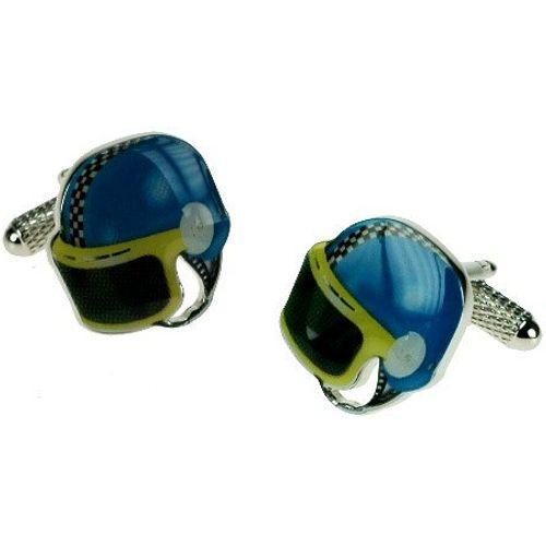 Blue Motorbike helmet novelty cufflinks