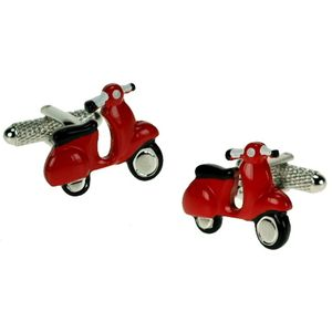 Red Vespa Motor Scooter Cufflinks