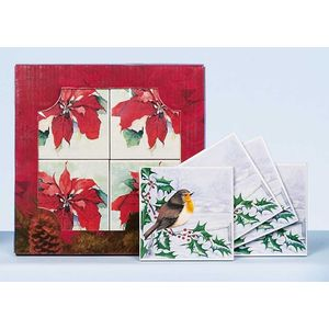 Christmas Tableware - Coasters Robin on Holly Set of 4