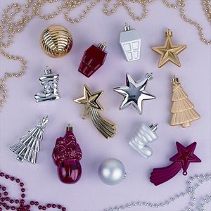 Pack of 35 Silver Mixed Shapes Tree Decorations