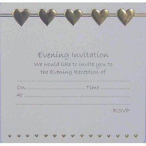 Wedding Thank You Cards - Gold Hearts design x10