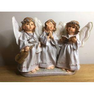 Christmas Decoration - Three Choir Angels Figurine (Siver Finish)