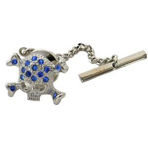 Sapphire Crystal Skull & Cross Bone Tie Pin