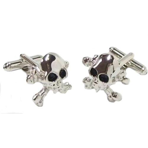Skull & Crossbones Cufflinks with jet black eyes