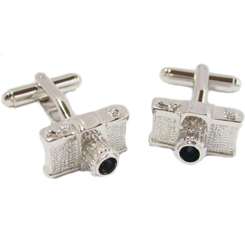 Camera Cufflinks in a polished silver finish