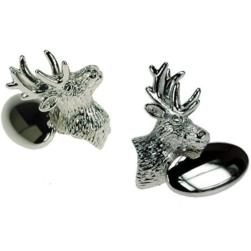 Silver Plated Stag Cufflinks with chain link fastening