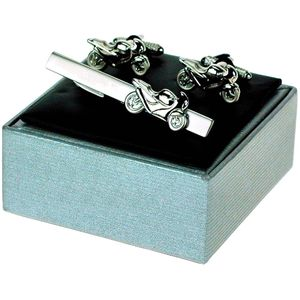 Racing Motorbike Cufflinks & Tie Bar Gift Set