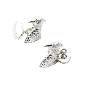 Falcon Bird of Prey Silver Plate Cufflinks